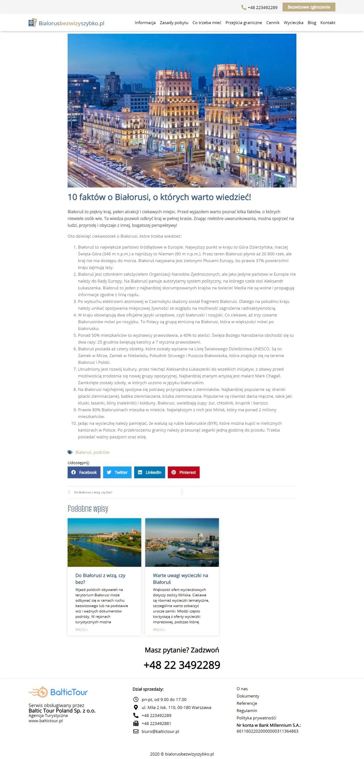 Tworzenie Wizytówki Internetowej Dla Firmy. Usługi Turystyczne