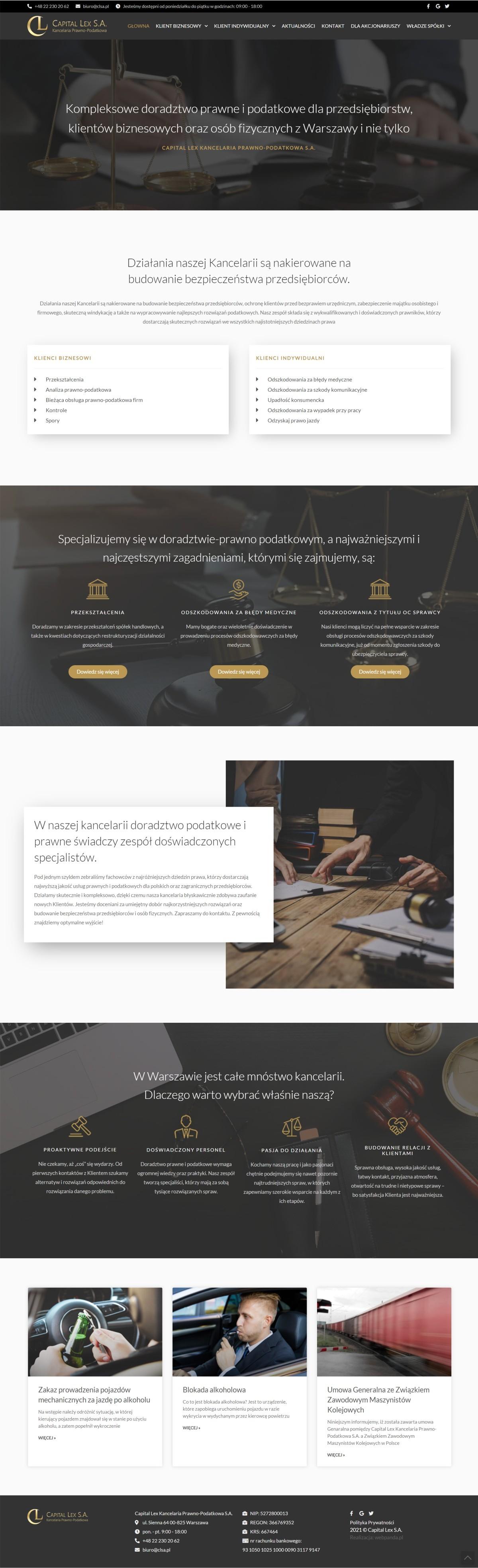 Tworzenie Strony Firmowej Z Blogiem. Doractwo Prawne