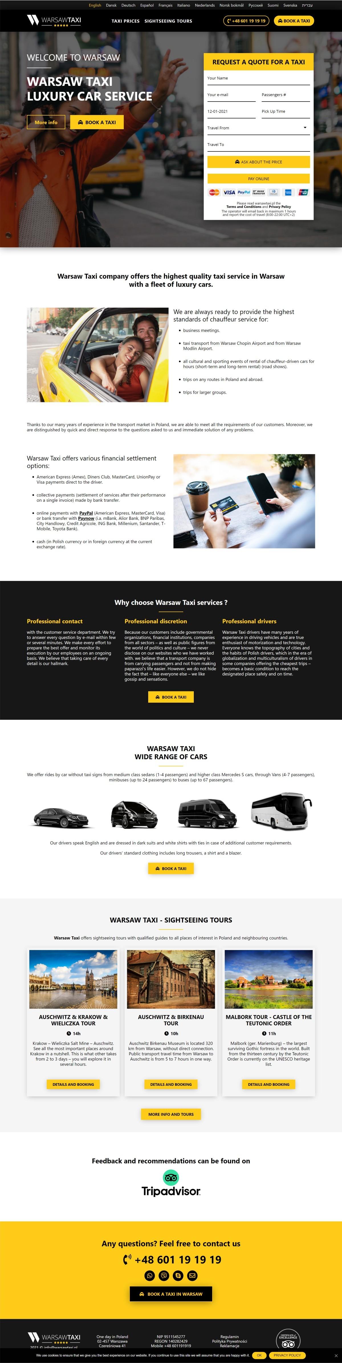 Tworzenie Strony Internetowej Dla Firmy. Usługi Taxi